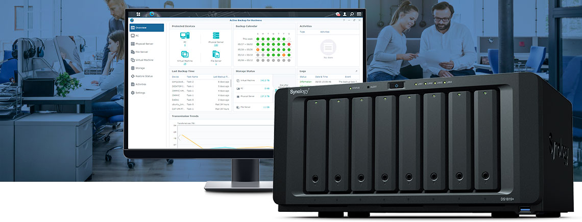 Synology DS1819+ e software Active Backup Suite para bare metal