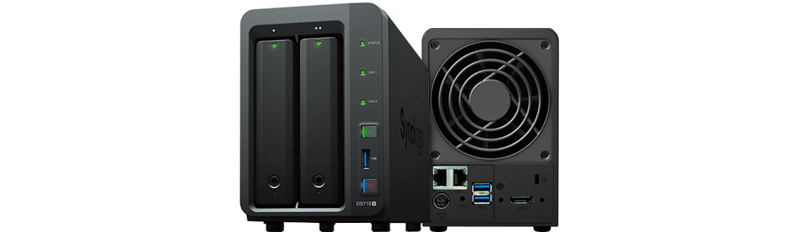 Synology DS718+ parte frontal e traseira do equipamento