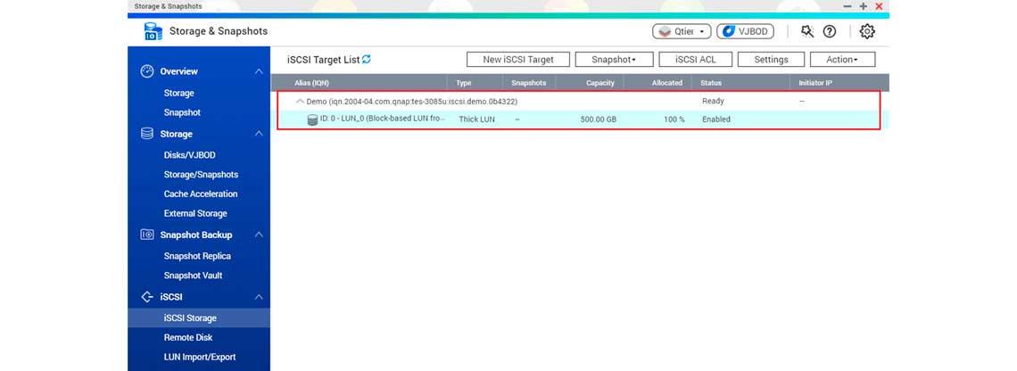 Target iSCSI no Qnap