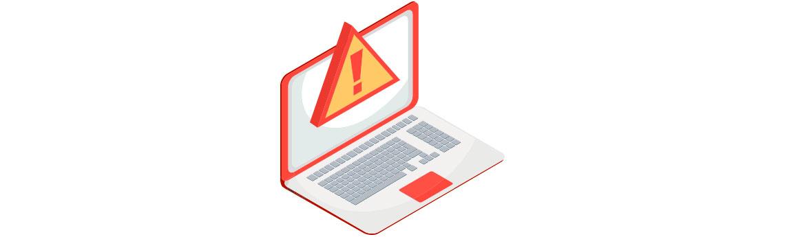 Computador com a tela bloqueada com um alerta