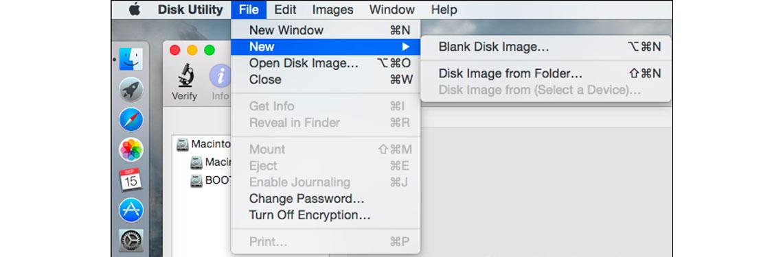 Utilitário de Disco, comandos Arquivo e abrir imagem de disco
