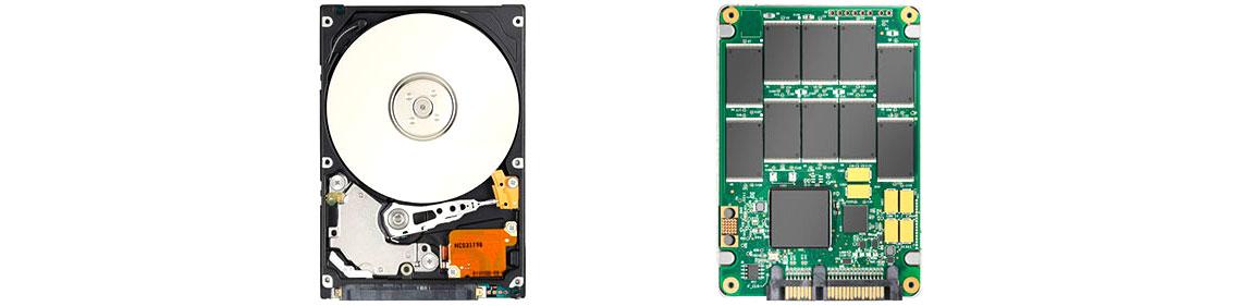 Vantagens do SSD sobre HDD, um ssd e um hdd abertos para mostrar os componentes de cada