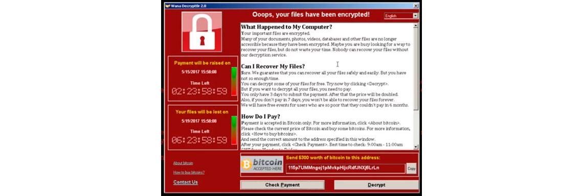 Tela de computador com a imagem de infecção por WannaCry
