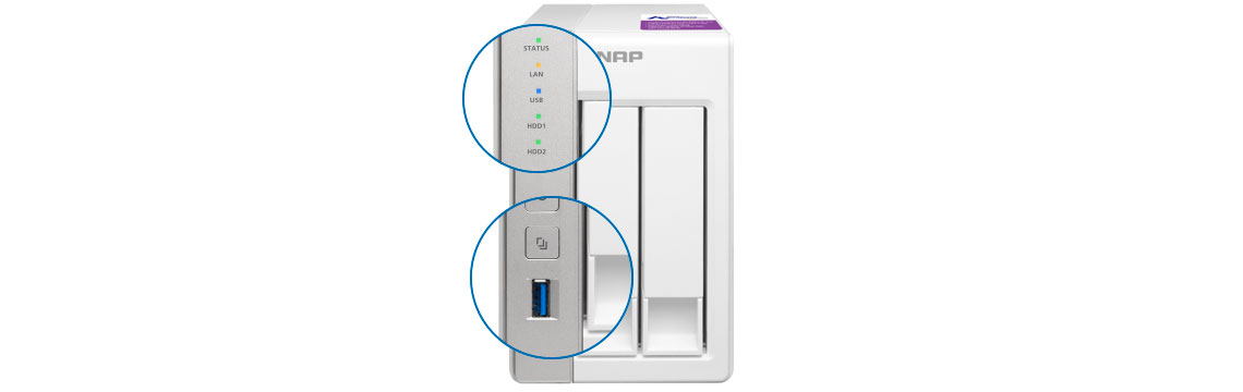 Painel frontal e botão one touch copy TS-231P Qnap