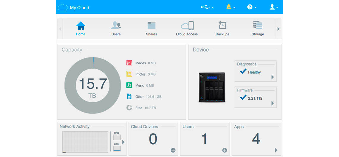 Sistema operacional My Cloud OS do WD My Cloud Pro Series PR4100