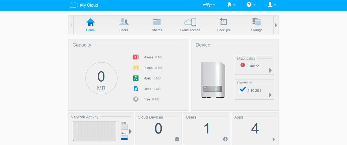 WD My Cloud Mirror, software de gerenciamento My Cloud