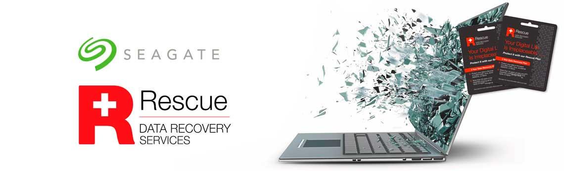 Logo Seagate e Rescue com computador destruído e cartões seagate Rescue ao lado