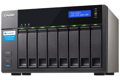 TVS-871T Qnap - Storage Thunderbolt 2 10Gbe 8 baias 64TB