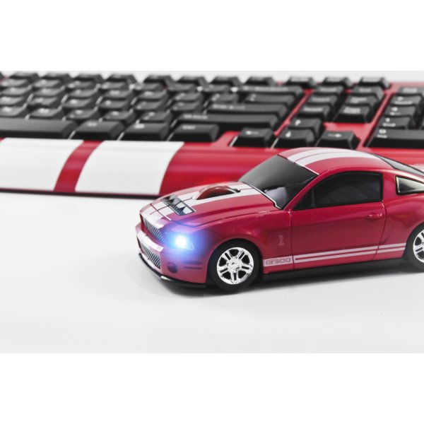 MOUSE WIRELESS SHELBY GT500 VERMELHO/BRANCO - ROAD MICE
