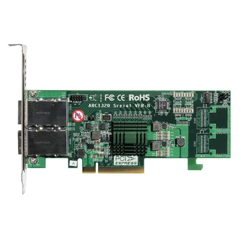 Placa mini SAS para drives LTO e storages externos - ARECA ARC-1320-8X