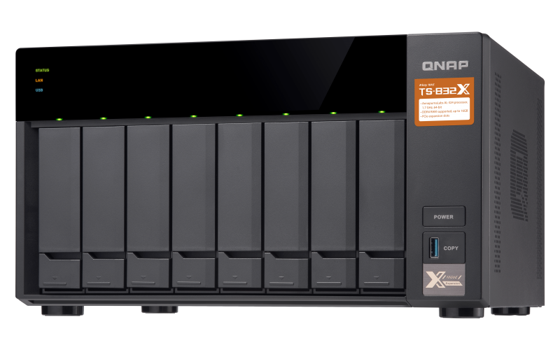 Qnap TS-832X - NAS server 8 baias hot-swappable até 96TB