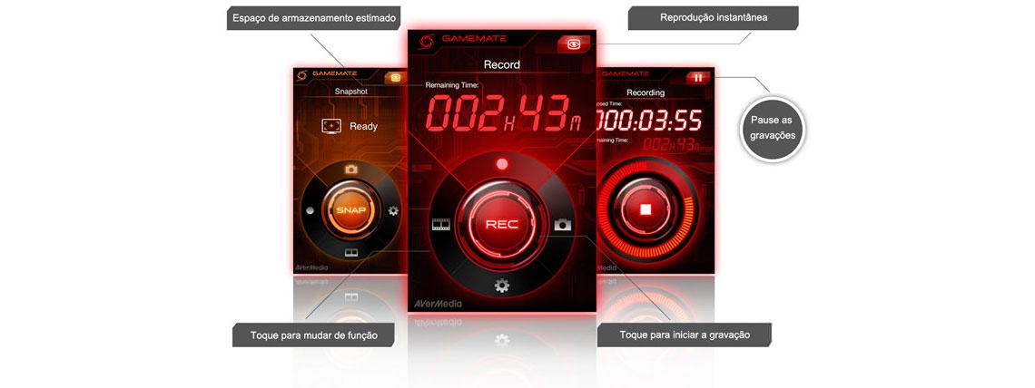 Interface do aplicativo Game Mate da AVerMedia no celular, apresentando as funções de espaço de armazenamneto estimado, toque para mudar de função, toque para iniciar a gravação, reprodução instantânea e pausar as gravações
