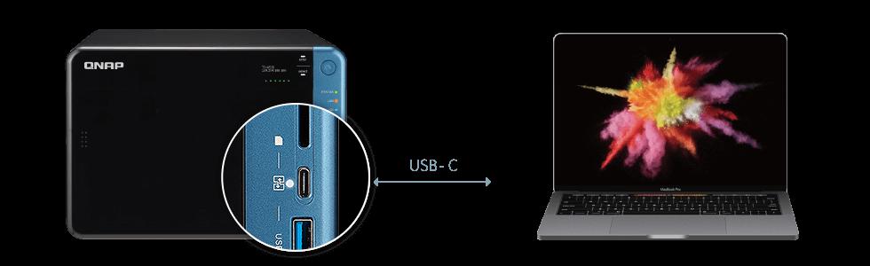 NAS 6 bay com acesso direto aos arquivos via USB-C