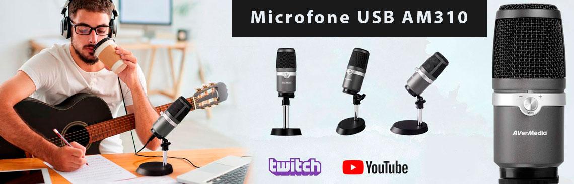 AM310 AVerMedia, microfone USB para gravação profissional