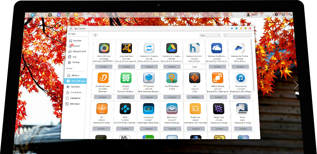 AppCentral, personalização de Storage com aplicativos para AS6212RD