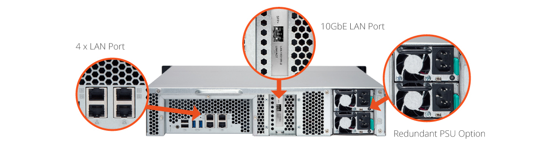Design de alta confiabilidade do storage 12HDs Qnap