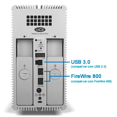 Disco LaCie 2big 8TB Quadra - Conectividade universal