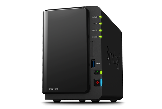 Synology DS216+II, 2-Bay storage até 20TB, compacto e de alta performance