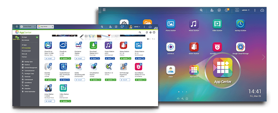 Diversos aplicativos para ampliar as funcionalidades NAS