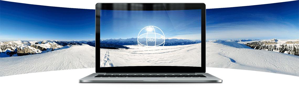 Exibição de vídeos e fotos em 360 graus