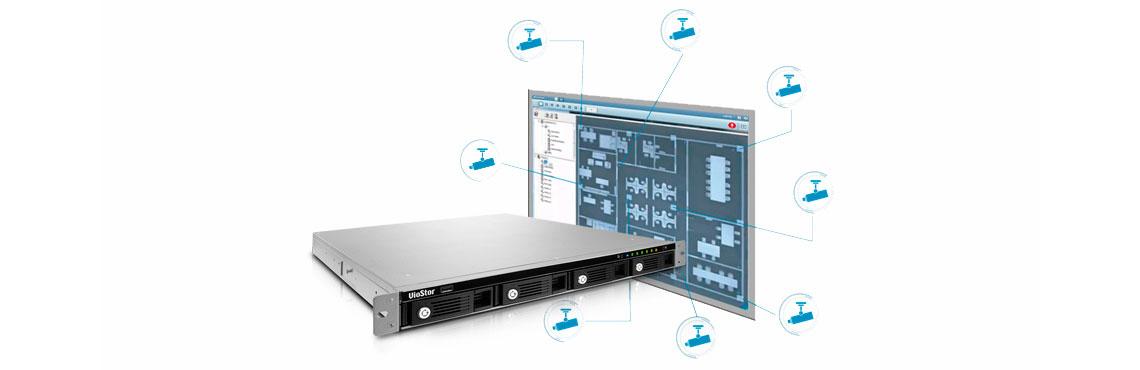 Gerenciamento de múltiplas câmeras IP no NVR de rack 16 canais Viostor