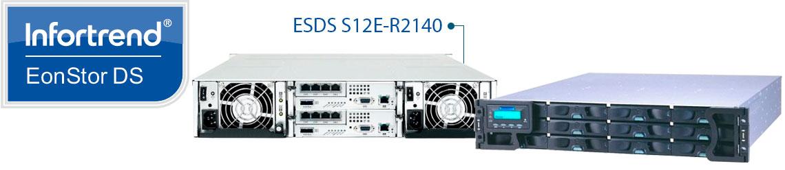 EonStor ESDS S12E-R2140, um Storage SAN com fontes e controladoras redundantes