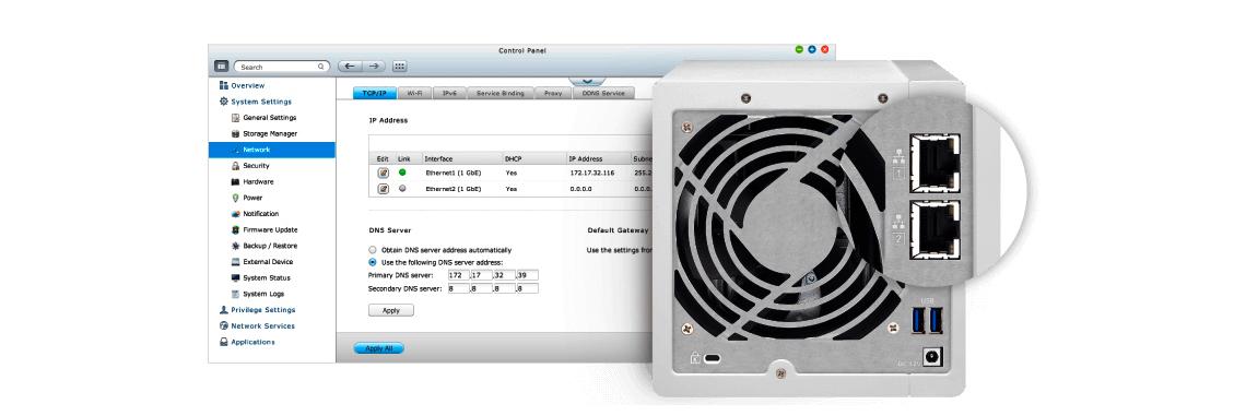 NAS 4 bay com duas portas LAN e agregação de link