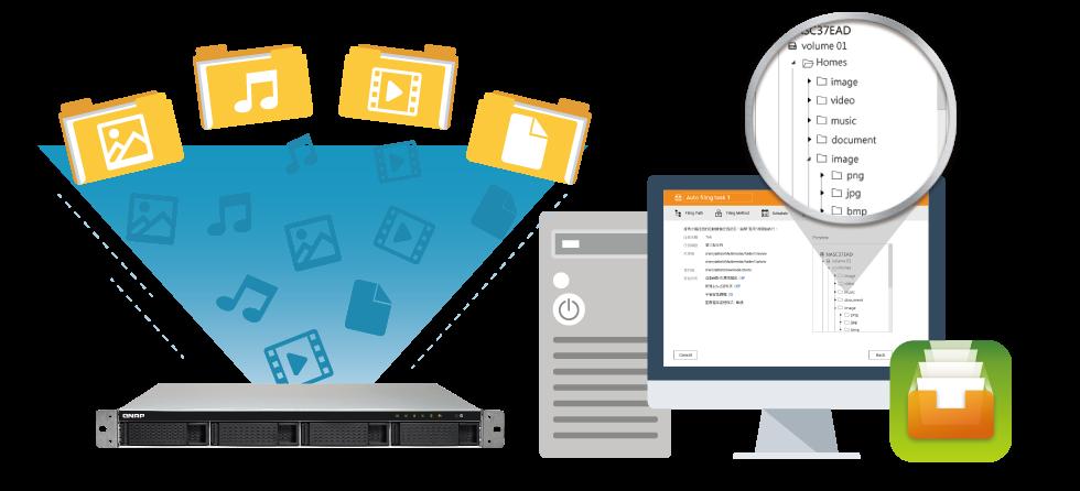 NAS 4 bay Qnap com Qfiling, ferramenta de organização de arquivos