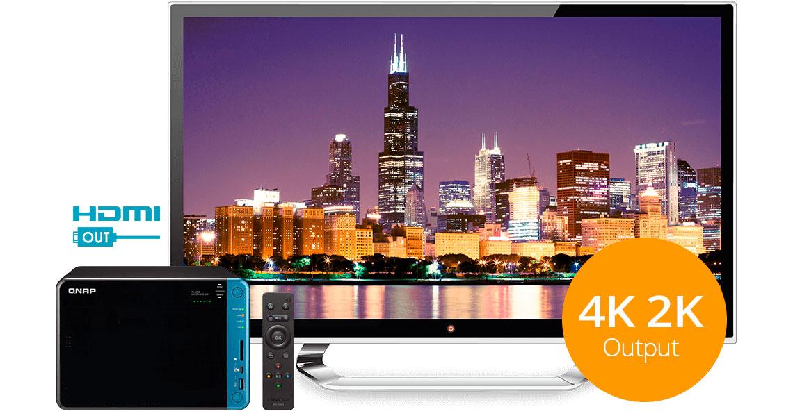 NAS 6 bay com saída HDMI 4K para melhor experiencia audiovisual
