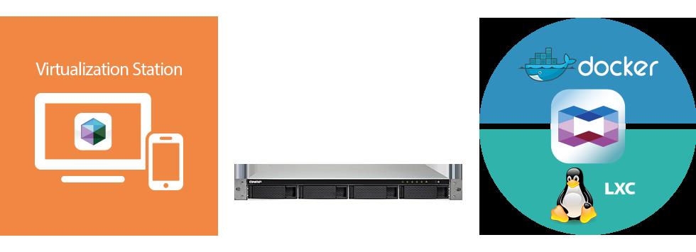 Qnap TS-453BU-RP, hospedagem de máquinas virtuais e aplicações containers
