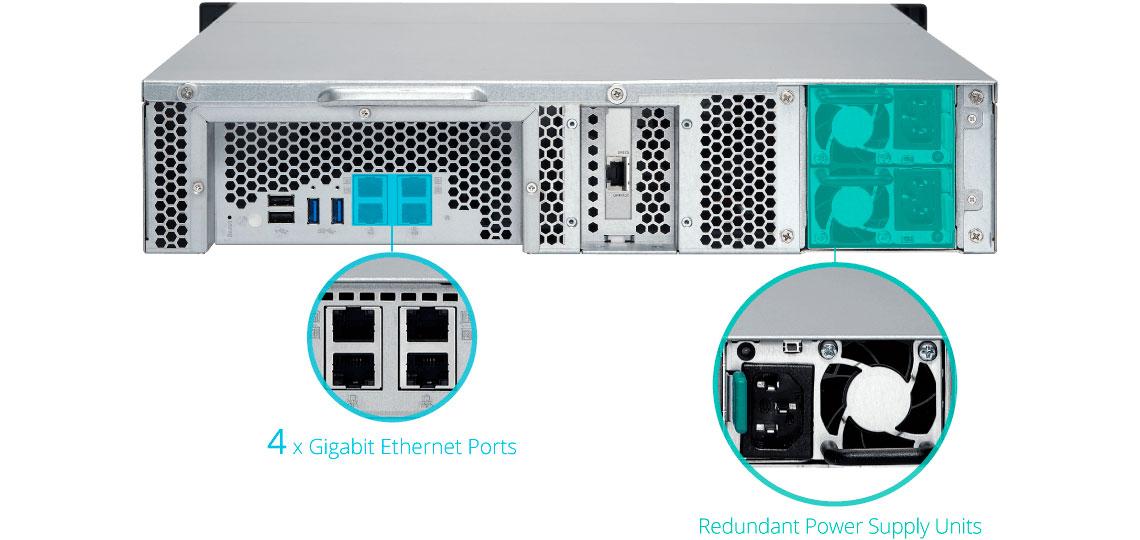 Qnap TS-863XU-RP, storage com fonte de alimentação redundante e 4 portas LAN