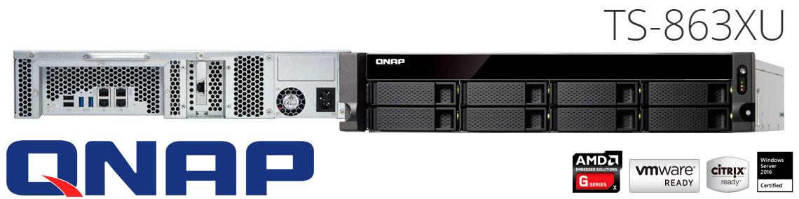 Qnap TS-863XU, servidor NAS 8 baias hot-swappable rackmount