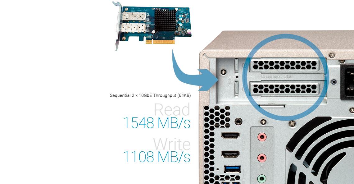 Qnap TVS-873e, slots PCIe para instalação de placas adicionais