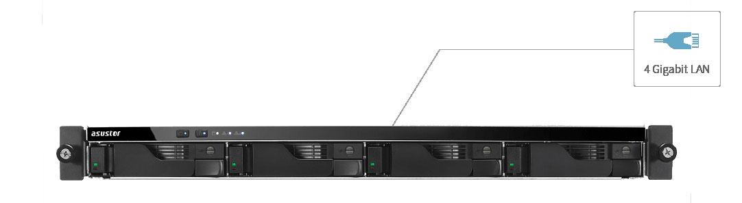 Storage iSCSI com quatro portas de rede e link aggregation