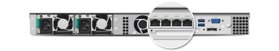 Quatro portas LAN para failover e suporte Link Aggregation