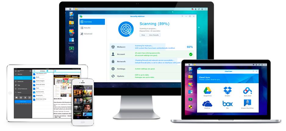 Sistema operacional e aplicativos DiskStation Manager