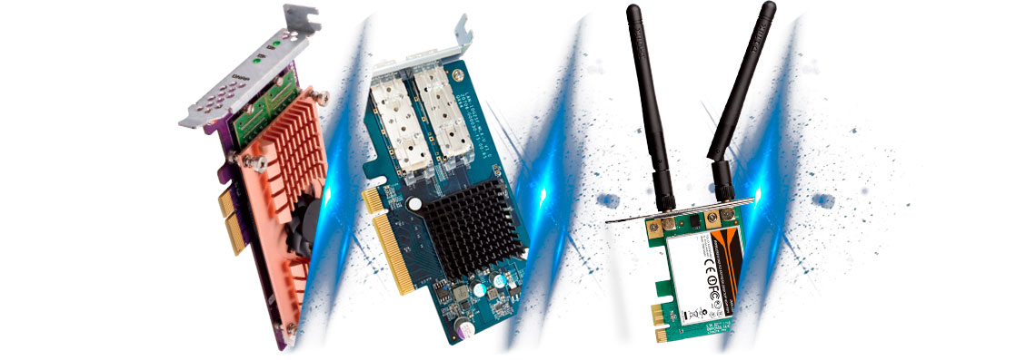 Slot PCIe para instalação de placas de expansão das funcionalidades NAS
