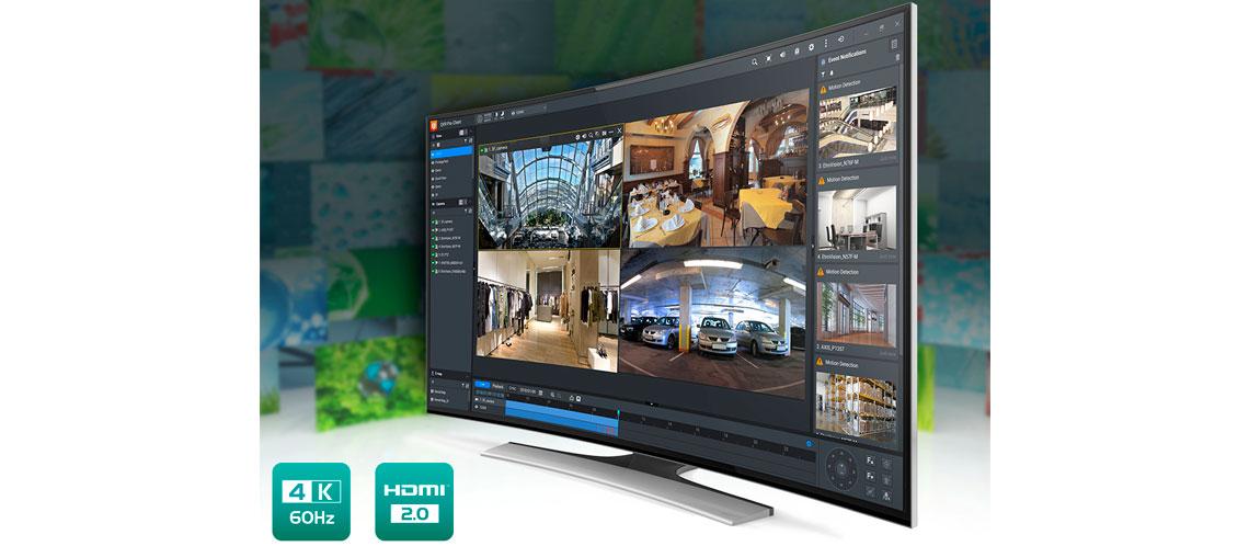 Solução de vigilância para até 128 canais, saída 4K HDMI e transcodificação em tempo real