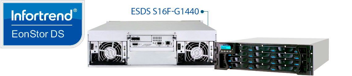 Storage Infortrend Fibre Channel ESDS S16F-G1440 com 16 baias hot-swappable SAS