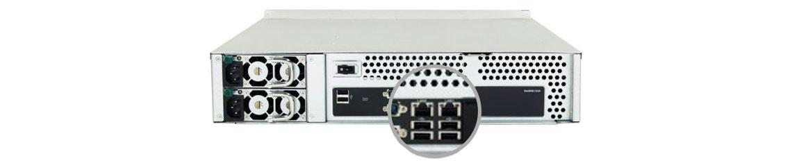 Storage NAS Infortrend com duas portas LAN para link aggregation