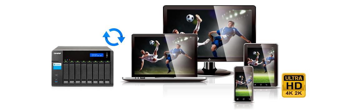 Storage Thunderbolt 2 TVS-871T com transcodificação e exibição de vídeo 4K