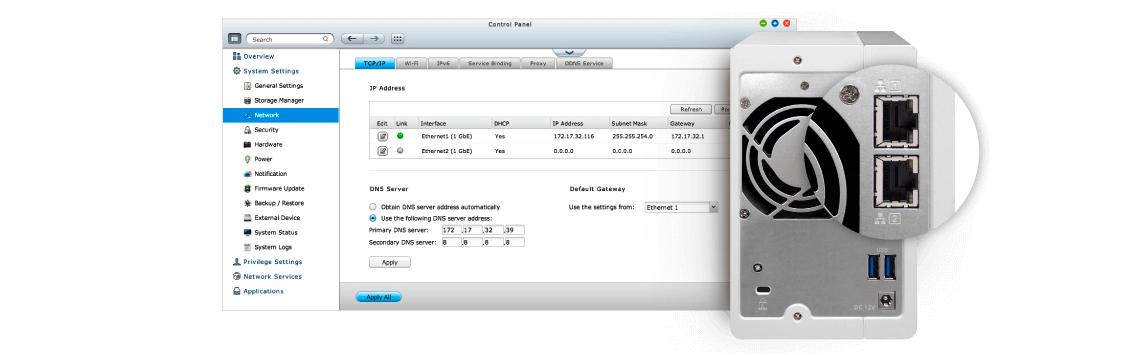 TS-231P: 2 duas portas LAN para maior comodidade