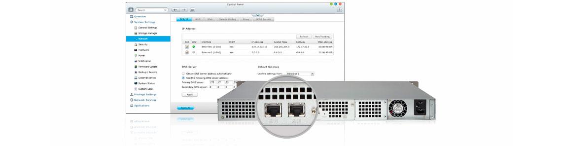 TS-431U, 2 portas LAN Gigabit