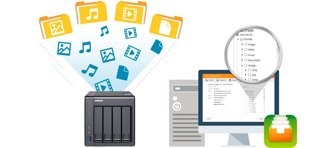 TS-431X2 Qnap, arquivos organizados automaticamente com o app Qfiling