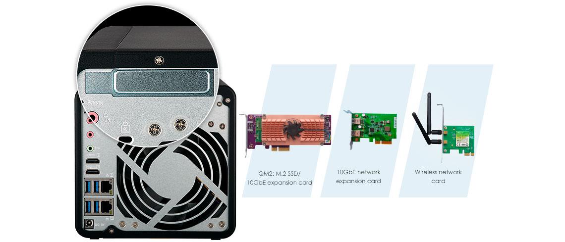 TS-453B com slot para expansão de funcionalidades NAS