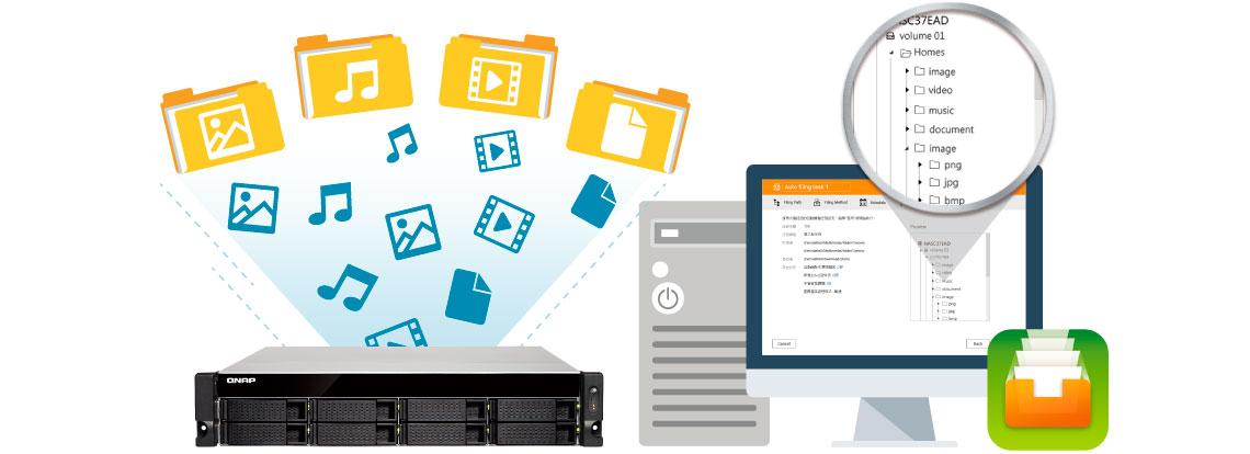 TS-853BU-RP, storage rackmount com Qfiling para automatizar a organização dos arquivos