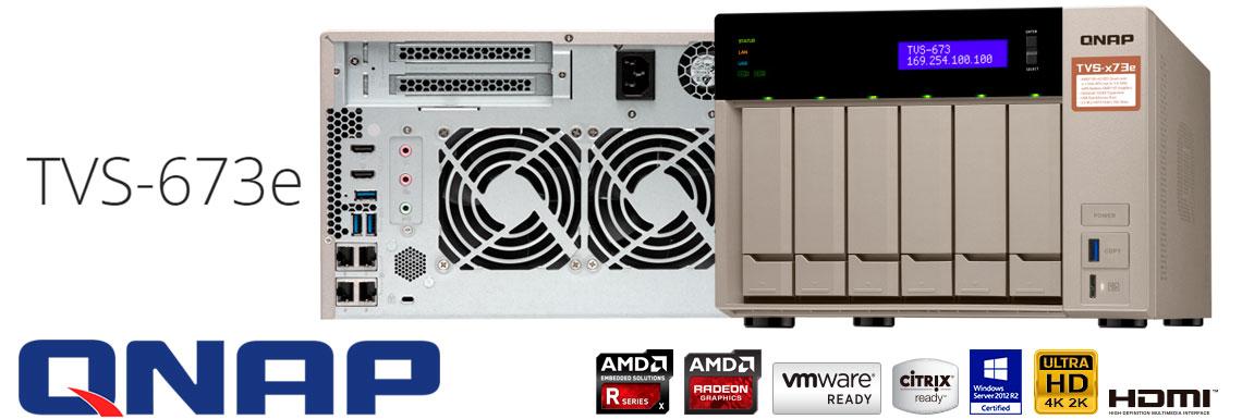 TVS-673e Qnap, servidor NAS 6 baias hot-swappable e 4 portas LAN