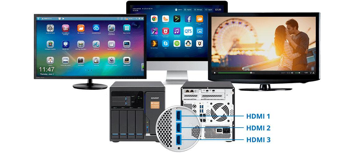 TVS-682T Qnap, storage com três saídas HDMI