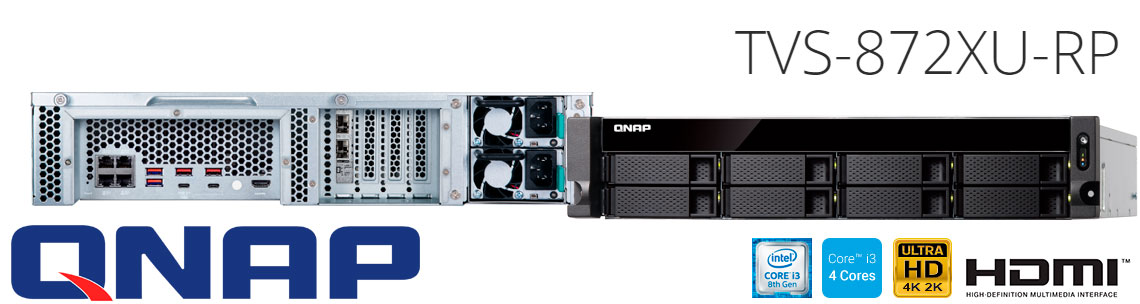 TVS-872XU-RP Qnap, servidor NAS 8 baias Quad Core
