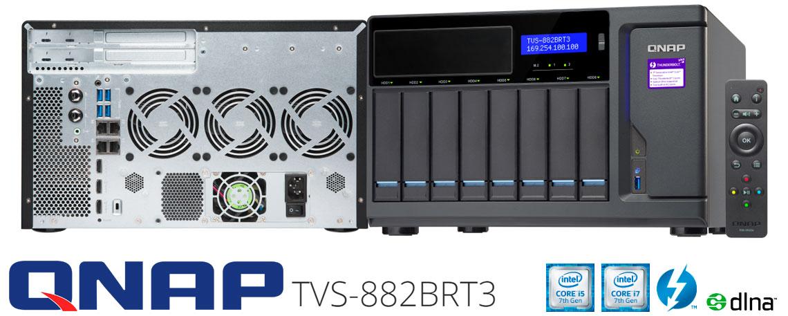 TVS-882BRT3 Qnap, servidor Thunderbolt 3 com 8 baias hot-swappable